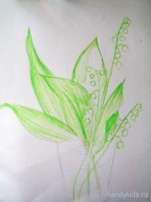 Рисуем ландыш поэтапно
