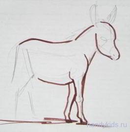 Урок поэтапного рисования ослика