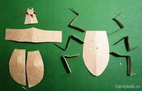 Поэтапно сделаем жука из бумаги