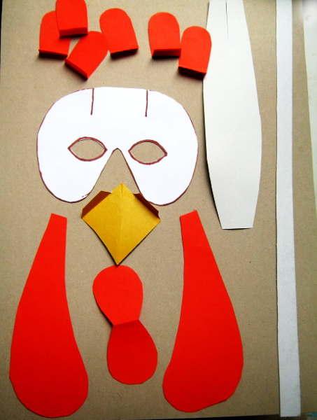 Выкройка деталей для маски петуха