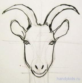 Голова козы рисунок