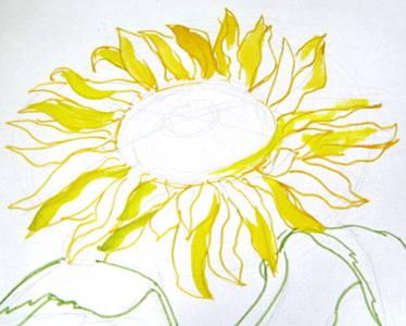 Рисуем цветок подсолнуха