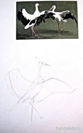 Как рисовать аиста