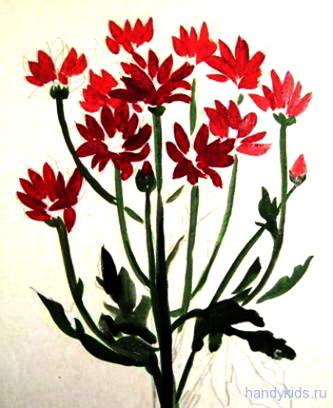 Нарисуем хризантемы с натуры