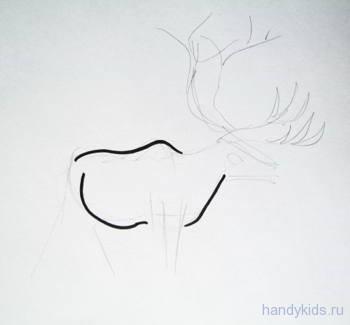 Рисуем туловище оленя