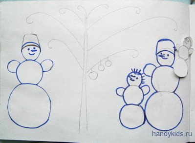 Аппликация с дорисовыванием Снеговик.