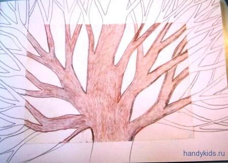 Выполним раскраску Весеннее дерево