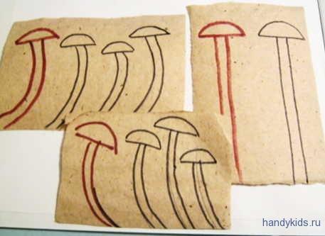 нарисуем грибы-опята по образцу