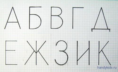 Написание букв алфавита