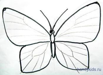 Нарисуем жилки на крыльях бабочки