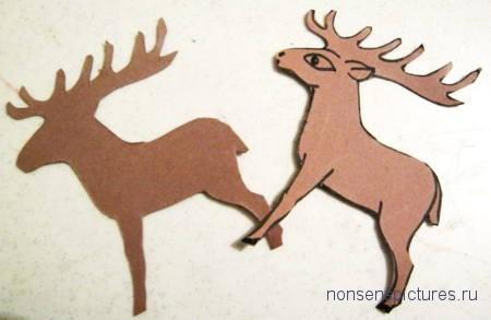 Сделаем модель  оленя из картона