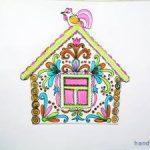 Раскраска — аппликация  Пряничный  домик