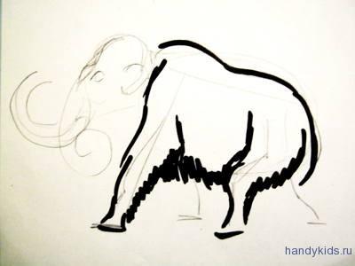 Нарисуем мамонта поэтапно