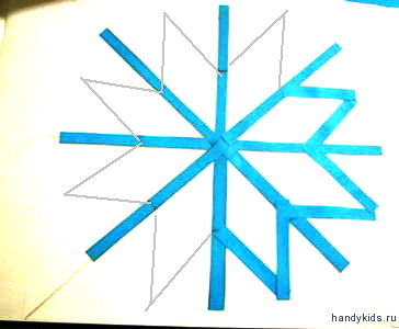 аппликация снежинка поэтапно