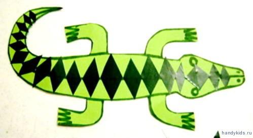 Аппликация Крокодил