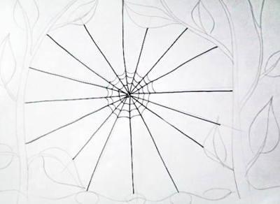 Поэтапный рисунок паутины