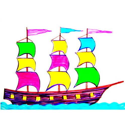 Раскраска-аппликация Корабль с парусами