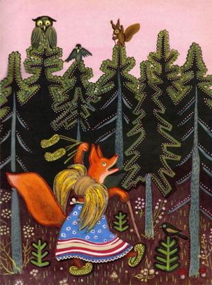 Лиса по лесу ходила -иллюстрация Ю.Вснецова