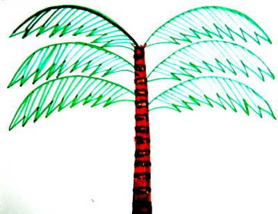 Начертим жилки на листьях пальмы
