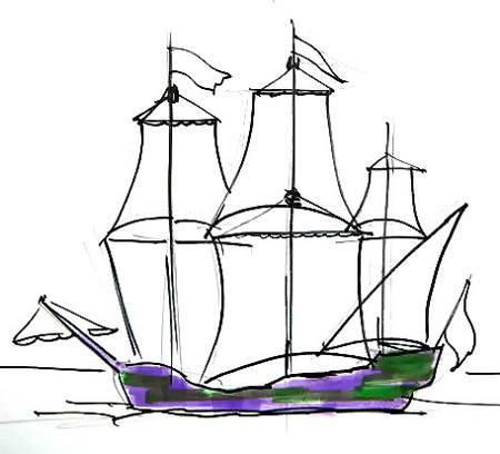 Рисунок - корабль с парусами