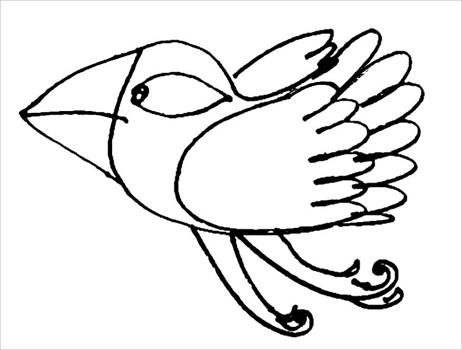Раскраска сказочная птичка